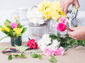 Hands of person holding flowers Royalty Free Stock Photo