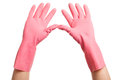 Hands in a pink domestic gloves open hand on white background Stock Photo