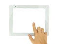 Hands  pointing at modern tablet PC Royalty Free Stock Photos