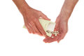 Hands pouring seeds Royalty Free Stock Photo