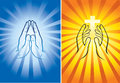 Hands praying and holding shining cross Royalty Free Stock Photography
