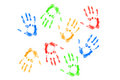 Hands prints  on white background Royalty Free Stock Photo