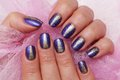 Hands purple nail art Royalty Free Stock Image