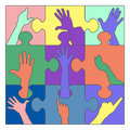 Hands puzzle resign illustration Royalty Free Stock Image