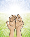Hands raised background a image of joined and together to the sky Royalty Free Stock Photo