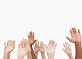 Hands raising in the air on white background Royalty Free Stock Photo