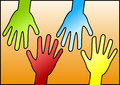 Hands reaching eachother for help coloured helping each other Royalty Free Stock Images