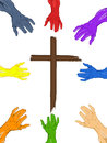 Hands reaching out for cross illustration of colored Royalty Free Stock Photo