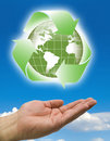 Hands recycle world clouds Royalty Free Stock Image