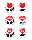 Hands with red heart love relationship icons set vector isolated on white marriage world peace concept Royalty Free Stock Image