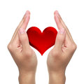 Hands and red heart with on white background Stock Images