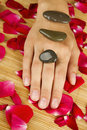 Hands on rose petals Royalty Free Stock Photo