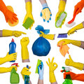 Hands in rubber gloves doing housework Royalty Free Stock Photo