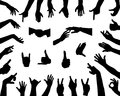 Hands set of silhouettes Royalty Free Stock Images