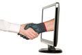 Hands shaking, LCD monitor Royalty Free Stock Photo