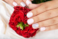 Hands with short manicured nails and red rose flower Royalty Free Stock Photo