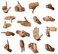 Hands show signs. Gesticulation. Royalty Free Stock Photo