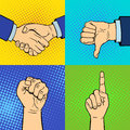 Hands showing deaf-mute different gestures human arm hold communication and direction design fist touch pop art style