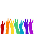 Hands showing victory sign in rainbow colors Royalty Free Stock Photo