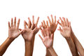 Hands sign many human hand hi five Royalty Free Stock Photos