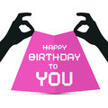 Hands silhouette holding pink paper with happy birthday to you title Stock Photos