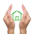 Hands and small cabin with green on white background which can used for the theme of family Royalty Free Stock Images