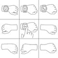 Hands with smartwatch icons collection of for illustrations Stock Images