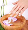 Hands spa manicure concept Stock Photos