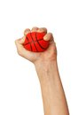 Hands squeezing ball toy Stock Image