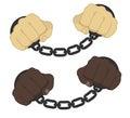 Hands in steel handcuffs