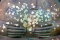 Hands and Stomach of Buddha Statue with gold leaf Royalty Free Stock Photo