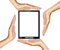 Hands tablet Isolated Royalty Free Stock Image