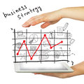 Hands tablet pc and business strategy on white background Stock Photos