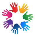 Hands teamwork colorful logo