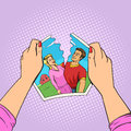 Hands Tear Photo Of Couple Pop...