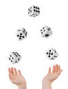 Hands throwing dices big isolated on white background Stock Images