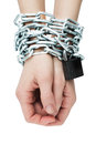 Hands tied chain Royalty Free Stock Photo