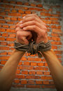 Hands tied up with rope Royalty Free Stock Images