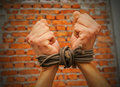 Hands tied up with rope Royalty Free Stock Image