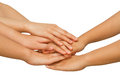 Hands on top of each other showing unity with their together concept successful business people Royalty Free Stock Photos