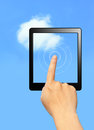 Hands touch computer screen with cloud Royalty Free Stock Image