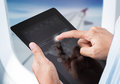 Hands touching digital tablet with search engine Royalty Free Stock Photo