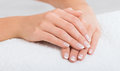 Hands on towel - Manicure Royalty Free Stock Photo