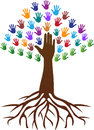 Hands tree root a vector drawing represents design Royalty Free Stock Images
