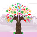 Hands tree shows nature expand and development growth meaning trunk Stock Photography