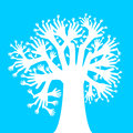 Hands tree vector made up of white on a blue background Royalty Free Stock Photos