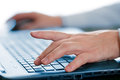 Hands typing on laptop keyboard Royalty Free Stock Photo