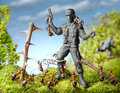 Hands up ants capture terrorist toy soldier ant tales Stock Photo