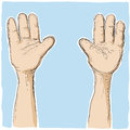 Hands up an illustration with a lot of together upwards Royalty Free Stock Photo