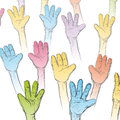 Hands up an illustration with a lot of together upwards Stock Image
